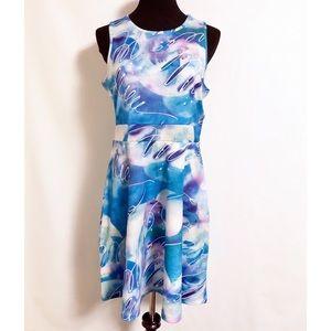 NWT Ocean Sky Blue Fit Flare Sun Dress Art & Sol L